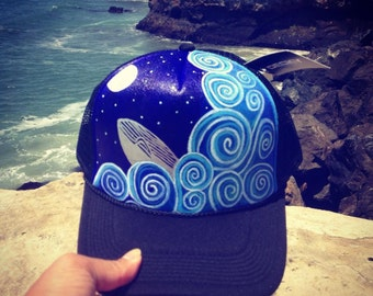 Hand painted whale and ocean trucker hat