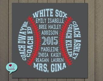 Baseball Softball Coach Team Gift, Word Cloud Art - PRINTABLE DIGITAL FILE - various sizes