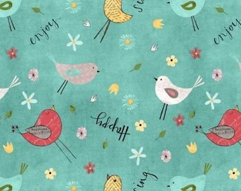 On The Road Again Camping, Teal Birds and Flowers cotton fabric
