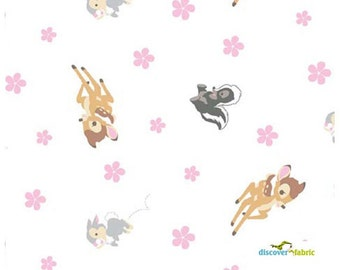 Disney, Bambi and friends on White cotton fabric, Springs Creative