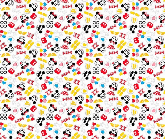 Mickey and minnie mouse emoji cotton fabric by for Emoji fabric