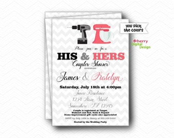 His & Hers Couples Wedding Shower Invitation PRINTED or PRINTABLE Wedding Invite.  Modern Shower Invitaiton.  Pink Black Chevron Drill Mixer