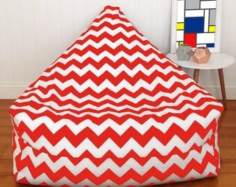 Red and White Chevon Bean Bag Chair