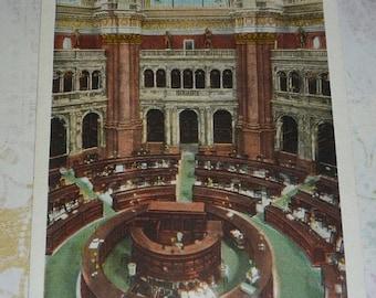 on sale Reading Room Library of Congress, Washington, D.C. Antique Pre-linen Curt Teich View Postcard