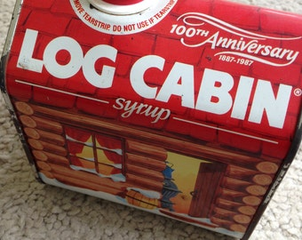Vintage Log Cabin Syrup 100th Anniversary Tin 1987