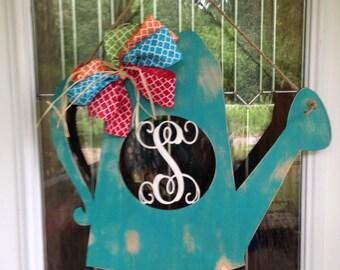 Watering can door hanger, gardening door hanger, monogram door hanger