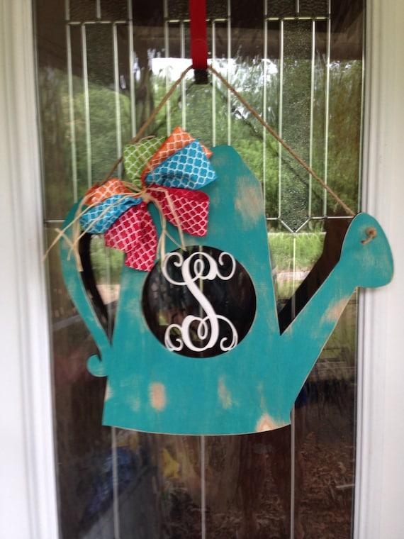 watering can door hanger gardening door hanger monogram door