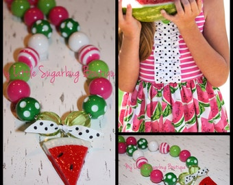 Watermelon Chunky Necklace-Pink White Green-M2M Eleanor Rose Freshly Picked-Bubblegum Necklace-Baby-Toddler-Girls-Women