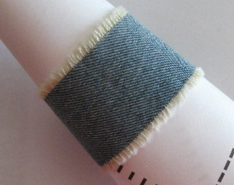 Denim cuff bracelet, faded jeans jewelry, frayed denim, distressed  denim, made in USA, maggiemaybecrafty