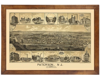 Paterson, NJ 1880 Bird's Eye View; 24x36 Print from a Vintage Lithograph
