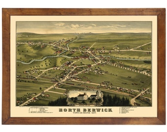 North Berwick, ME 1877 Bird's Eye View; 24x36 Print from a Vintage Lithograph