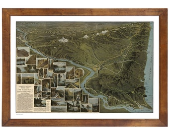 The Columbia River Hwy ... Bird's Eye Map published in 1923; 24x36 Print on Premium Photo Paper