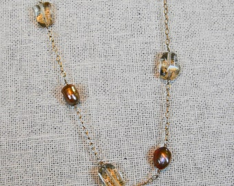 Oregon Sunstone and Bronze Fresh Water Pearls, Gold Filled Chain, Gifts for Her