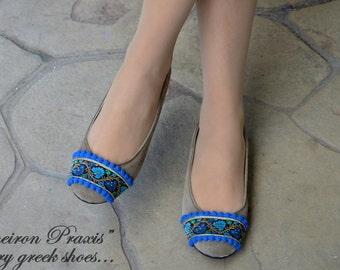 Artistic shoes / Suede ballet flats / Womens shoes / beige flat shoes / ballet shoes / beige suede shoes