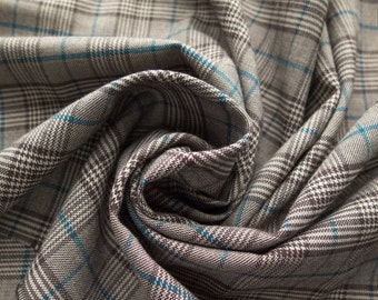 """FC12689       Summer Suiting Wool Blend Bold Brown Turqouise White Plaid 2 Way Stretch Smooth Soft Drape Mediumweight 60"""" By The Yard"""