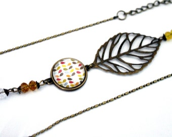 "Bohemian headband with cabochon ""pattern brass bronze Scandinavian flowers vintage"