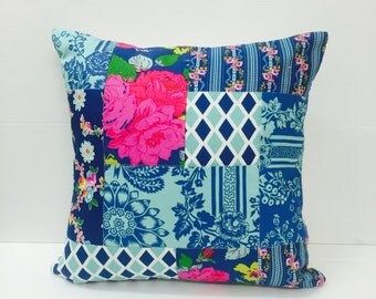 SALE! Navy Blue Patchwork Pillow Cover, Cottage Chic Pillow Cover, Quilted Cushion Cover, Quilted Pillow, Jennifer Paganelli Fabric, 18 x 18