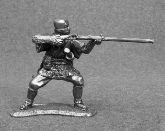 Japanese Toy Soldier Ninja Shooter Medieval 1/32 Scale 54mm Tin Metal Miniature Antique Statuette Action Figurine