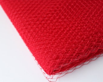 Red Russian Birdcage Veiling / Birdcage Veil Material / 9 inch veiling