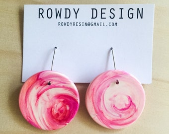 SALE!! Small Round Disc Resin Dangle Earrings - Pink Swirl