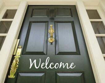 Welcome Decal - Vinyl Decal for your Front Door - Welcome Vinyl Lettering Entry Way - Welcome Vinyl Sticker Decal For Front Door - Porch