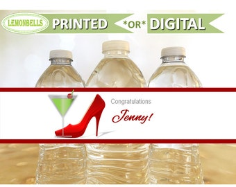 Bachelorette Party Water Bottle Labels, Bachelorette Party Decoration, Bachelorette Party Favors, Martini party, Martini and heels, WB02