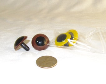 24mm Brown or Yellow  plastic eyes, Safety Eyes for Stuffed Animals,  you choose or buy more than one and mix and match