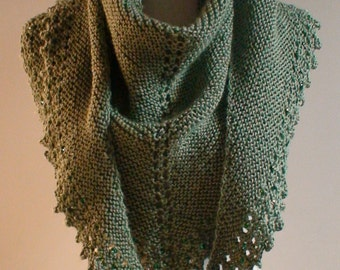 Triangle Shawl Triangle Scarf Moss Green Hand Knit Beaded trim