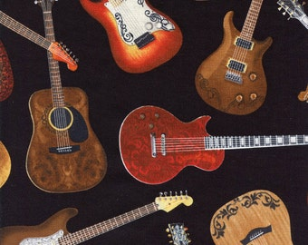 Guitars Timeless Treasures Cotton Fabric C1611 Black, By the Yard