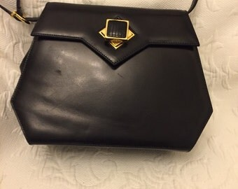 Vintage salvatore ferragamo black leather bag
