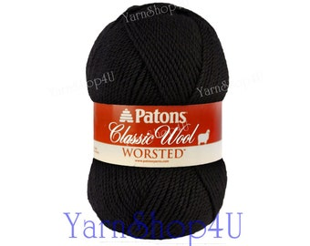 BLACK Patons Classic Wool yarn, Black wool yarn. Black Felting yarn. 10% Pure Wool, Black Classic Wool Yarn, Jet Black wool 3.5oz 100g