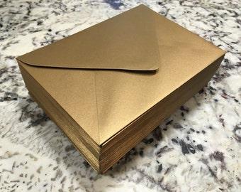 50 Antique Gold Shimmer A7 5x7 Invitation or A1 (4Bar) RSVP Pointed Flap Envelopes - Paper Source Envelope
