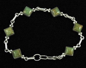 Lovely Vintage Green Turquoises Sterling Silver Bracelet - Signed B