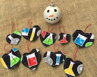 Science Ornaments, Chemistry Ornaments, Beaker Ornaments, Potion Ornaments, Alchemy Ornaments, Scientist Ornament, Heart Ornament, Geek Gift