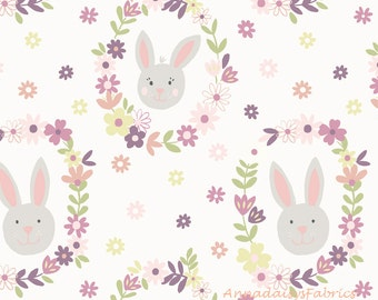 Lewis & Irene Bunny Garden LEI A146-1, Easter Fabric, Bunny Fabric, Rabbit Fabric, Easter Quilt Fabric, Children's Fabric