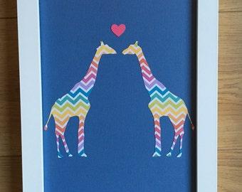 Oringinal hand-cut papercut - 'Giraffe love'