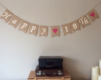 18th Birthday Bunting Banner. Vintage Hessian Rustic