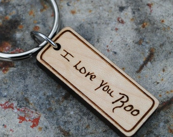 Custom Handwriting Keychain Personalized Message with Signature Memento of Loved One Memorial Keychain Gift