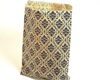 """100 5"""" x 7"""" Paper Gift Bags - Kraft Damask"""