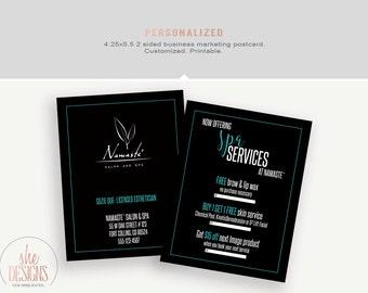 Business Postcard Salon and Spa Services. Customizable. Printable.