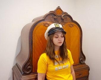 80's Sailor Hat, Vintage Hat, Halloween Hat, Boater Hat