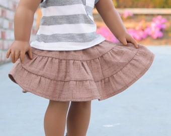 18 Inch Doll Tiered Beige Skirt - American Made Girl Doll Clothes - 18 Inch Doll Skirt - Doll Clothes - Tiered Doll Skirts