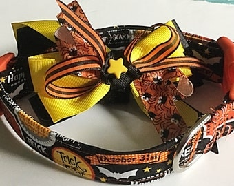 Trick or Treat Halloween Collar with Matching Ribbon Bow for All Dogs and Cats
