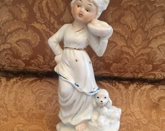 Lady with Dog Porcelain Figurine, Girl with Dog Porcelain Figurine, Porcelain Figurine, Knicknacks