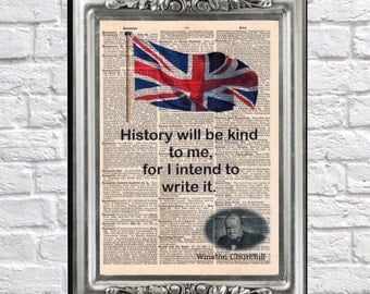 Winston Churchill quote History antique book page 1903 Dictionary art print Upcycled wall decor