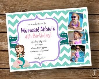 """Printable """"Mermaid"""" Birthday Invitation"""