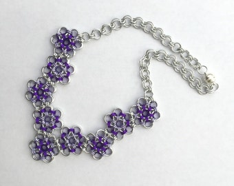 Purple Chainmaille Flower Motif Necklace