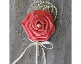 Coral Wedding Boutonniere Grooms Boutonniere Groomsmen Boutonniere Mens Wedding Boutonniere Coral Boutonniere Wedding   Boutonnieres