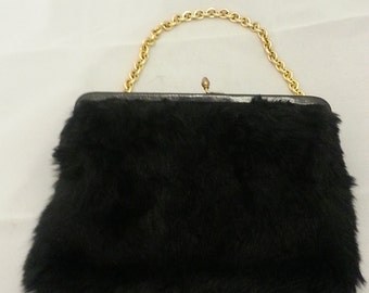 Vintage Black Fur purse
