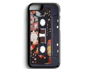 Floral Pattern Cassette Tape For iPhone 4 iPhone 5 iPhone 5c iPhone 6 iPhone 6 Plus iPhone 7 iPhone 7 Plus FREE Tempered Glass Screen Pro